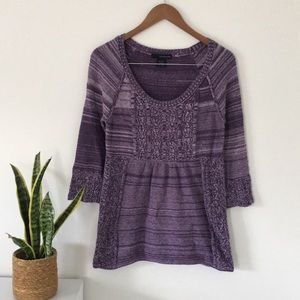 Calvin Klein Jeans Purple Sweater Size Medium 3/4 Sleeve